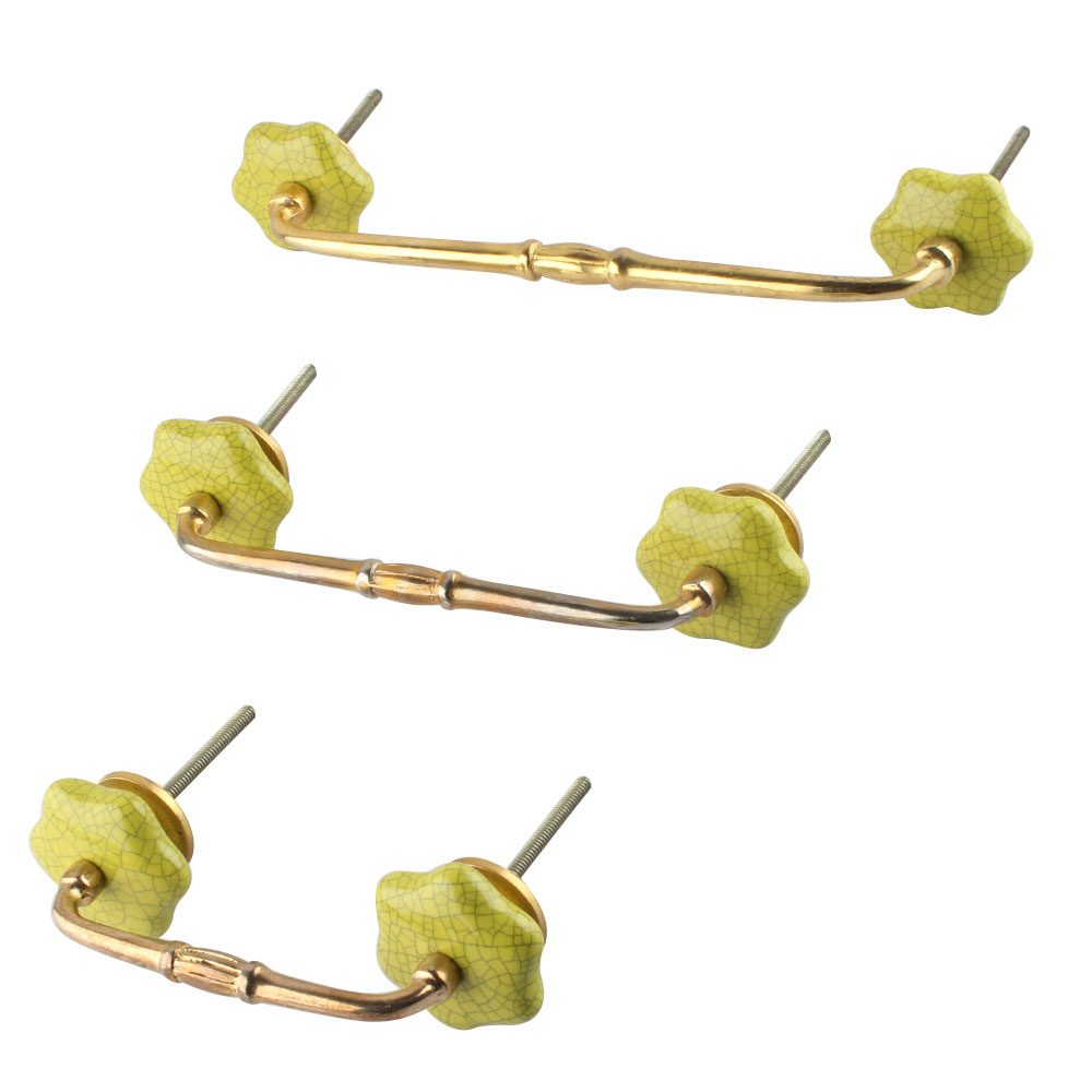 Lime Ceramic Bridge Dresser Handles
