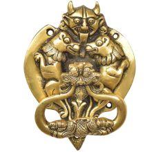 Handcrafted  Brass Demon Two Lions Dragon Head Door Knocker