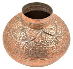 Hand Made Copper Embossed Floral Design Water Pot Or Floral Vase