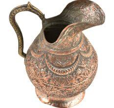 Copper Vintage Floral Engraved Jug