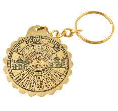 Brass Scalloped Edge Metal Perpetual Calendar Keychain With Taj Mahal
