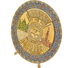 Blue Brass Floral Border Round 100 Years Desk Stand Disk Indian Calendar