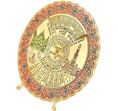 Red Brass Floral Border Round Indian Desk Stand Disk 100 Years Calendar
