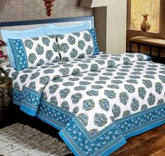 Blue Floral Cotton Bedsheet With Two Pillow Cover