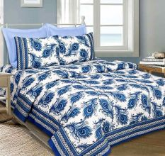 Navy Blue Peacock Feather Cotton Bedsheet With Two Pillow Cover