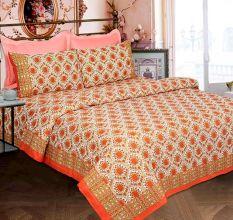 White Base White Orange Border Orange Flower Double Bedsheet with Two Pillow Cover