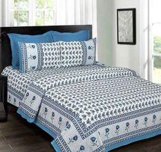 White Base Blue Floral Border Blue Flower Double Bedsheet with Two Pillow Cover