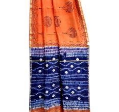 Orange Blue Batik Print Pallu Saree With Blouse