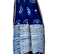 Blue And White Printed Design Chanderi Silk  Saree With Blouse