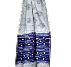 Light Grey Leafy Pattern Chanderi Silk Indigo Blue Border With Blouse