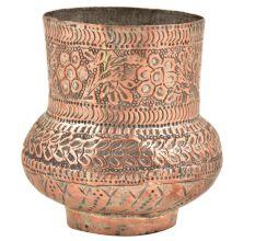 Kashmiri Copper VaseWith Fine Floral Design and Unusual Design
