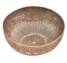 Copper Engraved Floral Design Handmade Copper Bowl