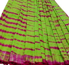 Parrot Green Cotton Saree With Pompom With Blouse Piece