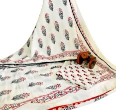 Block Print Cotton Sarees in black,red and white With Pom Pom Border With Blouse Piece