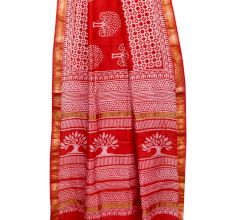 Brick Red Chanderi Block Print Saree With Golden Border And Bouse Piece