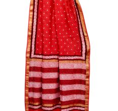 Brick Red Chanderi Block Print Saree With Golden Border And Blouse Piece