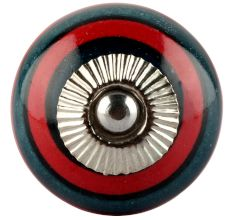 Forest Green And Red Strip Ceramic Cabinet Knobs Online
