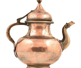 Brass Hand Hammered Copper Holy Water Pot With A Stout