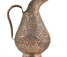 Vintage Ethnic Repousse Copper Water Pitcher Jug