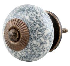 Black Marble Crackle Ceramic Drawer Knob