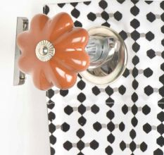 Ceramic Big Flower Shaped Orange Curtain Rod Finial