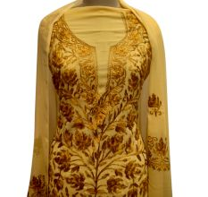Light Yellow Designer Dress Georgette With Golden Yellow Floral Embroidery And Duppata