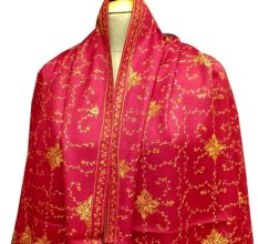 Handmade Blood Red Semi Pashmina Jaal Design Needle Work Shawl