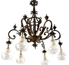 Handcrafted Vintage Design Brass Chandelier With 6 Clear Frosted Glass Lamps