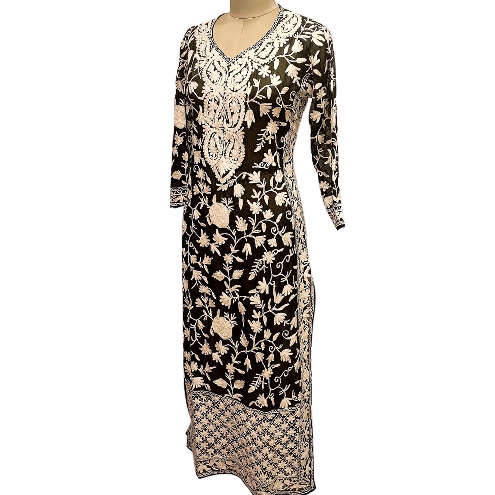 Black Designer Dress Fabric Georgette With Heavy Embroidery