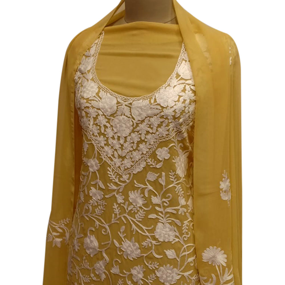 Mustard Floral Dress Fabric  Georgette With Matching Dupata
