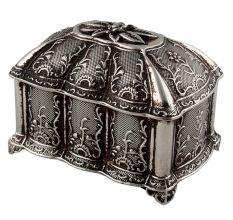 Floral Octagonal Metal Small Jewellery Box