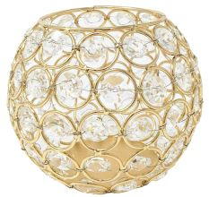 Golden Round Crystal Votive