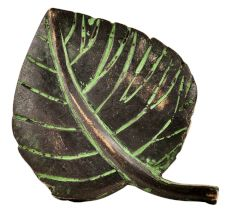 Brass Betal Leaf Shape Drawer Knob With Patina