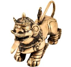 Handmade BrassFoo Dogs  Armored Lion Temple Guardian Statue