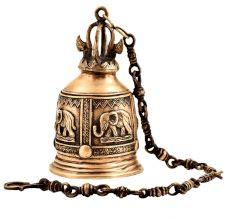 Brass Engraved Elephant Mandir Hanging Bell