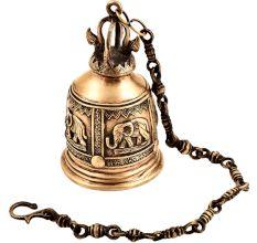 Brass Engraved Elephant Mandir Hanging Bell