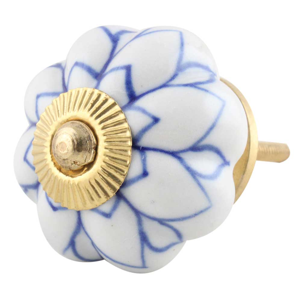 Blue Lotus Ceramic Knob
