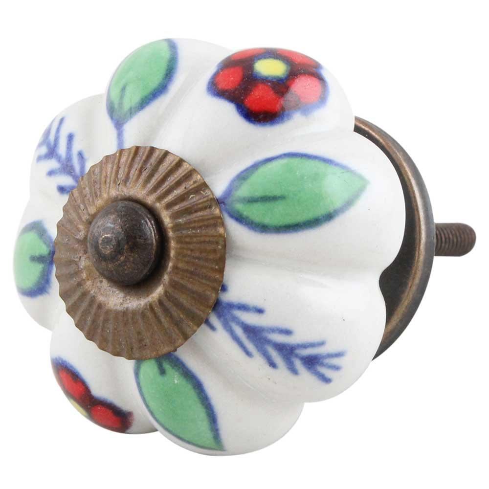 Red Dahlia Ceramic Knob