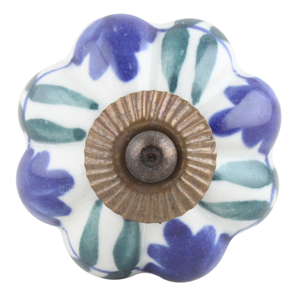 Blue Rose Ceramic Knob