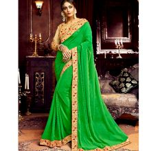 Georgette Solid Ruffle Saree (Green) With Heavy Embroidered Blouse