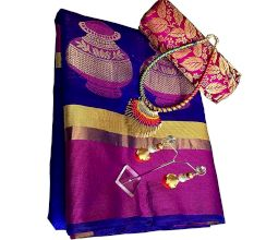 Navy Blue Cotton Silk Matka Saree