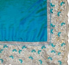 GreenEmbroidered Border Work Paper Silk Saree with Blouse Piece