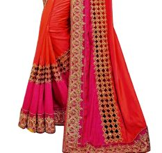Orange Pink Paper Silk Embroidered Saree with Blouse Piece