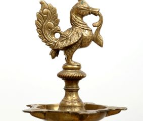Long Brass Oil Lamp with Peacock Design.