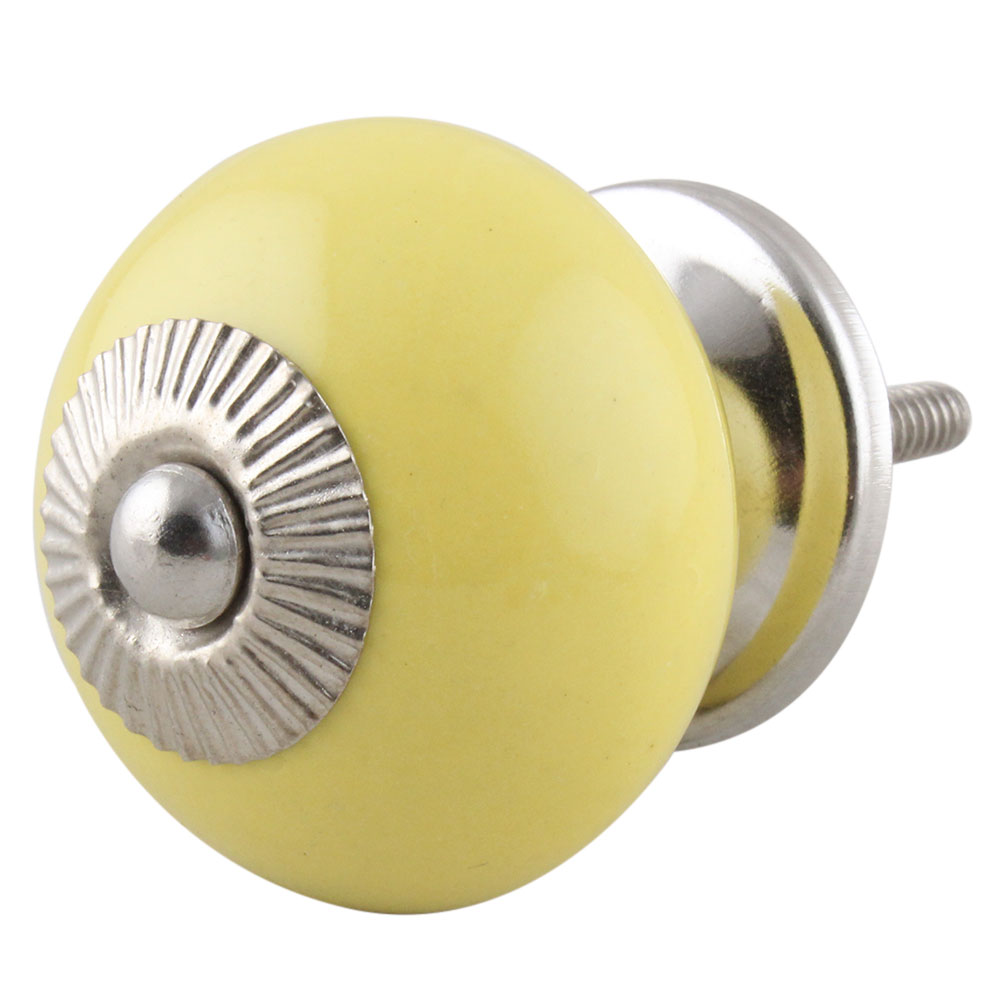 Solid Yellow Ceramic Knob