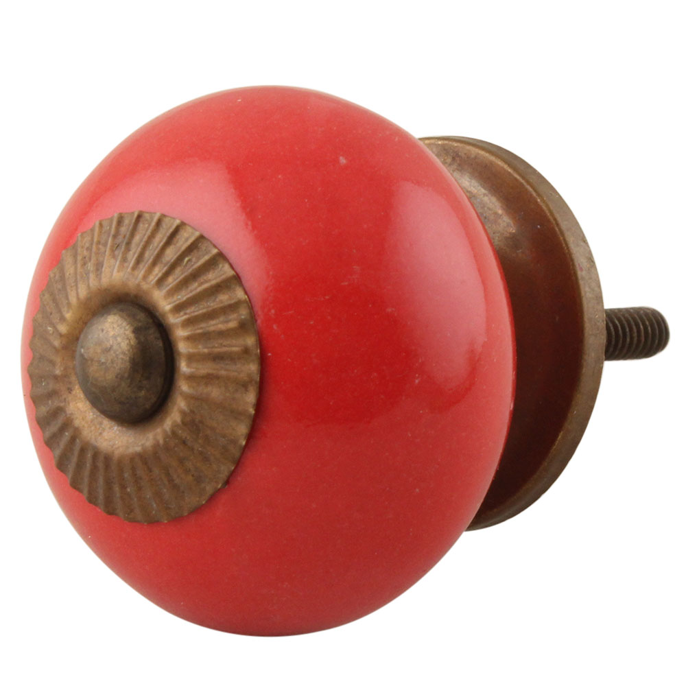 Solid Red Ceramic Knob