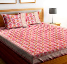 Chic Home Premium Cotton Printed Double Bed Sheet with 2 Pillow Covers: