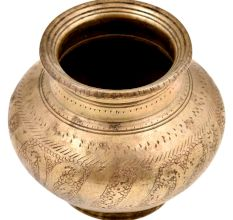 Hindu Religious Engraved Floral Design Bulbous Form Water Pot