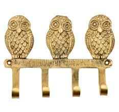 Handmade Brass Wise Owl Wall Hooks Set of 4