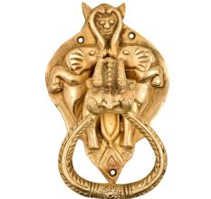 Huge Demon Head Two Elephants Covering Bat Head With Ornate Door Brass Metal Door Knocker Ring